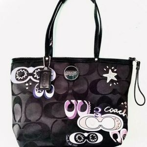 "Coach Black Poppy ""Sig"" Appliqué Tote Model: F1758"